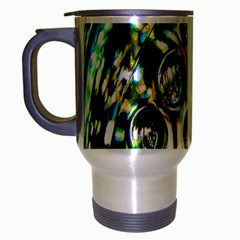 Dark Abstract Bubbles Travel Mug (silver Gray) by Nexatart