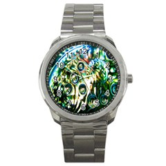 Dark Abstract Bubbles Sport Metal Watch by Nexatart