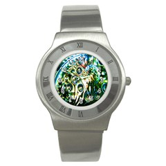 Dark Abstract Bubbles Stainless Steel Watch by Nexatart