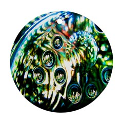 Dark Abstract Bubbles Round Ornament (two Sides) by Nexatart