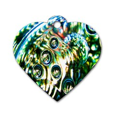 Dark Abstract Bubbles Dog Tag Heart (two Sides) by Nexatart