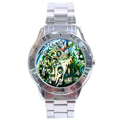 Dark Abstract Bubbles Stainless Steel Analogue Watch by Nexatart