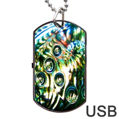 Dark Abstract Bubbles Dog Tag Usb Flash (two Sides) by Nexatart