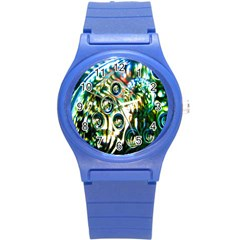 Dark Abstract Bubbles Round Plastic Sport Watch (s) by Nexatart