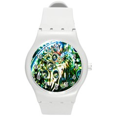 Dark Abstract Bubbles Round Plastic Sport Watch (m)