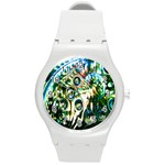 Dark Abstract Bubbles Round Plastic Sport Watch (M) Front