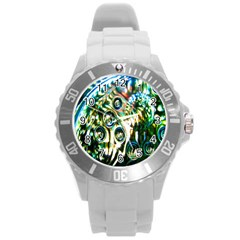 Dark Abstract Bubbles Round Plastic Sport Watch (l) by Nexatart