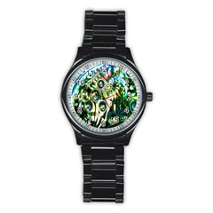 Dark Abstract Bubbles Stainless Steel Round Watch by Nexatart