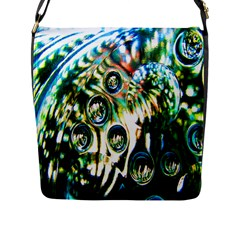 Dark Abstract Bubbles Flap Messenger Bag (l)  by Nexatart
