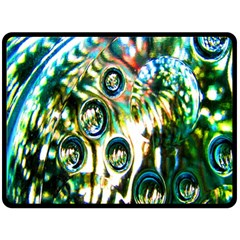 Dark Abstract Bubbles Double Sided Fleece Blanket (large)  by Nexatart