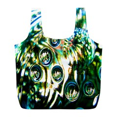 Dark Abstract Bubbles Full Print Recycle Bags (l)  by Nexatart