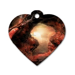 3d Illustration Of A Mysterious Place Dog Tag Heart (two Sides)