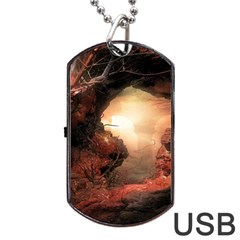 3d Illustration Of A Mysterious Place Dog Tag Usb Flash (two Sides)