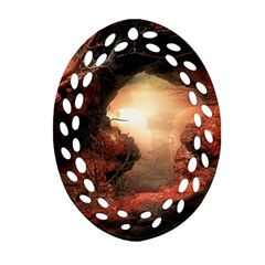 3d Illustration Of A Mysterious Place Oval Filigree Ornament (two Sides) by Nexatart