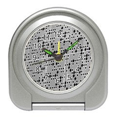 Metal Background With Round Holes Travel Alarm Clocks by Nexatart