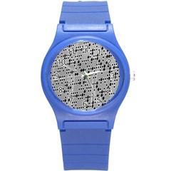 Metal Background With Round Holes Round Plastic Sport Watch (s) by Nexatart