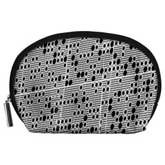 Metal Background With Round Holes Accessory Pouches (large)  by Nexatart