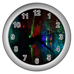 Illuminated Trees At Night Near Lake Wall Clocks (silver)  by Nexatart