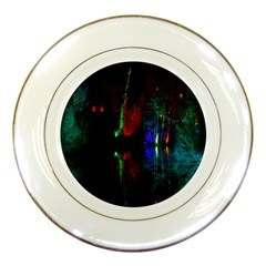 Illuminated Trees At Night Near Lake Porcelain Plates by Nexatart