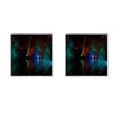 Illuminated Trees At Night Near Lake Cufflinks (square) by Nexatart