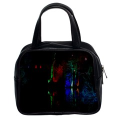 Illuminated Trees At Night Near Lake Classic Handbags (2 Sides) by Nexatart