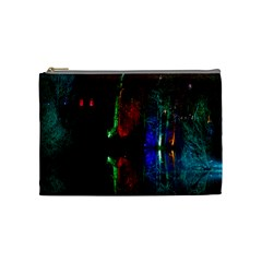 Illuminated Trees At Night Near Lake Cosmetic Bag (medium)  by Nexatart