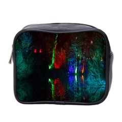 Illuminated Trees At Night Near Lake Mini Toiletries Bag 2 Side