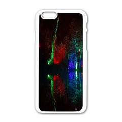 Illuminated Trees At Night Near Lake Apple Iphone 6/6s White Enamel Case by Nexatart