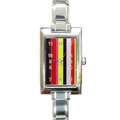Stripe Background Rectangle Italian Charm Watch