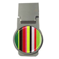 Stripe Background Money Clips (round)  by Nexatart