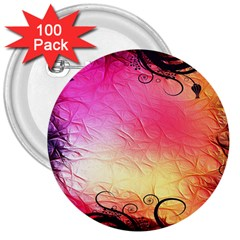 Floral Frame Surrealistic 3  Buttons (100 Pack)