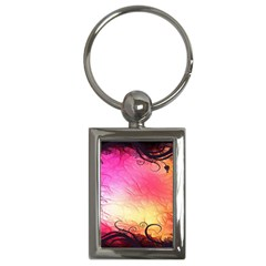 Floral Frame Surrealistic Key Chains (rectangle)  by Nexatart
