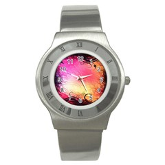 Floral Frame Surrealistic Stainless Steel Watch by Nexatart
