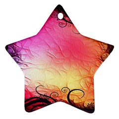 Floral Frame Surrealistic Star Ornament (two Sides) by Nexatart