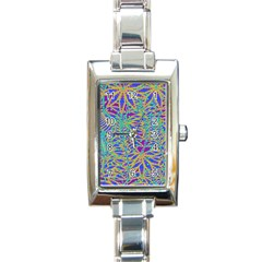 Abstract Floral Background Rectangle Italian Charm Watch by Nexatart
