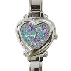 Abstract Floral Background Heart Italian Charm Watch by Nexatart