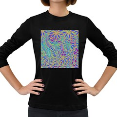 Abstract Floral Background Women s Long Sleeve Dark T Shirts