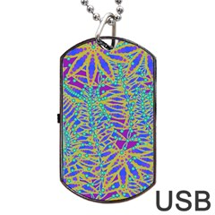 Abstract Floral Background Dog Tag Usb Flash (one Side)