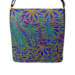 Abstract Floral Background Flap Messenger Bag (l)  by Nexatart