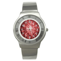 Water Drops Red Stainless Steel Watch by Nexatart
