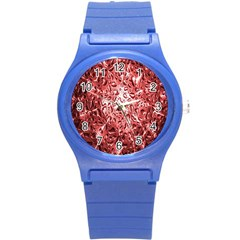 Water Drops Red Round Plastic Sport Watch (s)