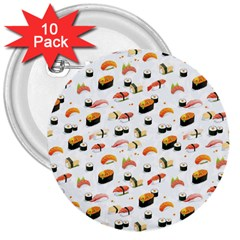 Sushi Lover 3  Buttons (10 Pack)