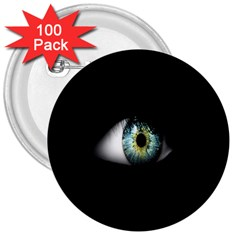 Eye On The Black Background 3  Buttons (100 Pack)