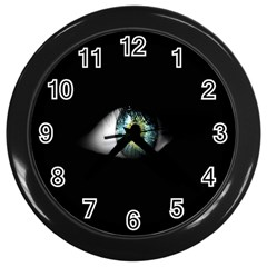 Eye On The Black Background Wall Clocks (black) by Nexatart