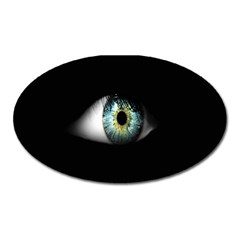 Eye On The Black Background Oval Magnet by Nexatart