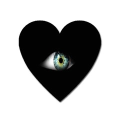 Eye On The Black Background Heart Magnet by Nexatart