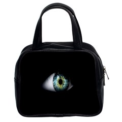 Eye On The Black Background Classic Handbags (2 Sides) by Nexatart