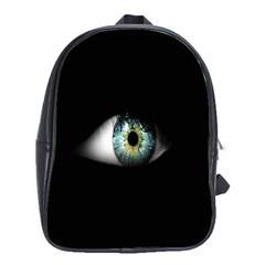 Eye On The Black Background School Bags(large)  by Nexatart