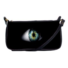 Eye On The Black Background Shoulder Clutch Bags by Nexatart