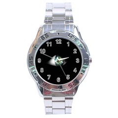 Eye On The Black Background Stainless Steel Analogue Watch